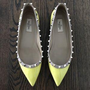 Valentino Yellow Rockstud Patent Ballerina Flats